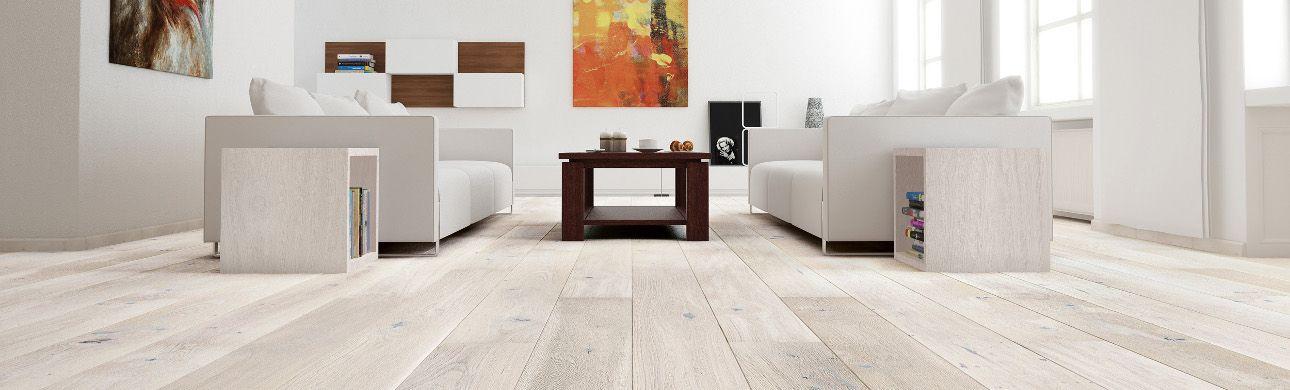 white wood flooring